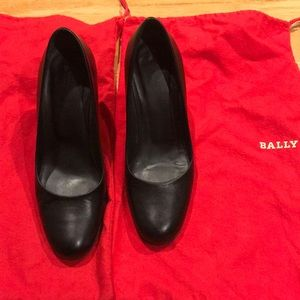 Bally Plain Black Leather Pump-80mm